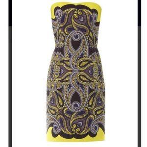 New Lanvin Paisley Mosaic Strapless Cocktail Dress